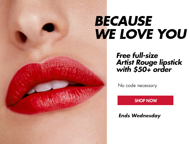 FREE full-size Artist Rouge lipstick with $50+ order! No code.