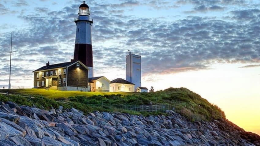 Montauk Point Lighthouse at dusk