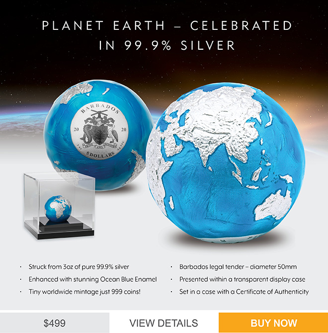 23310 - Blue Marble 2020 $5 Earth Sphere 3oz Silver Brilliant Uncirculated Coin