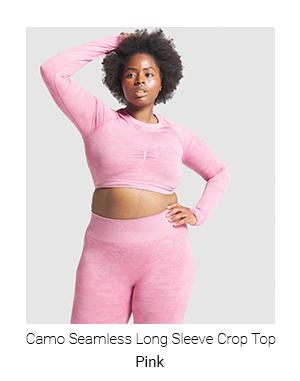 Camo Seamless Long Sleeve Crop Top, Pink.