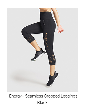 Energy Seamless Cropped Leggings, Black.