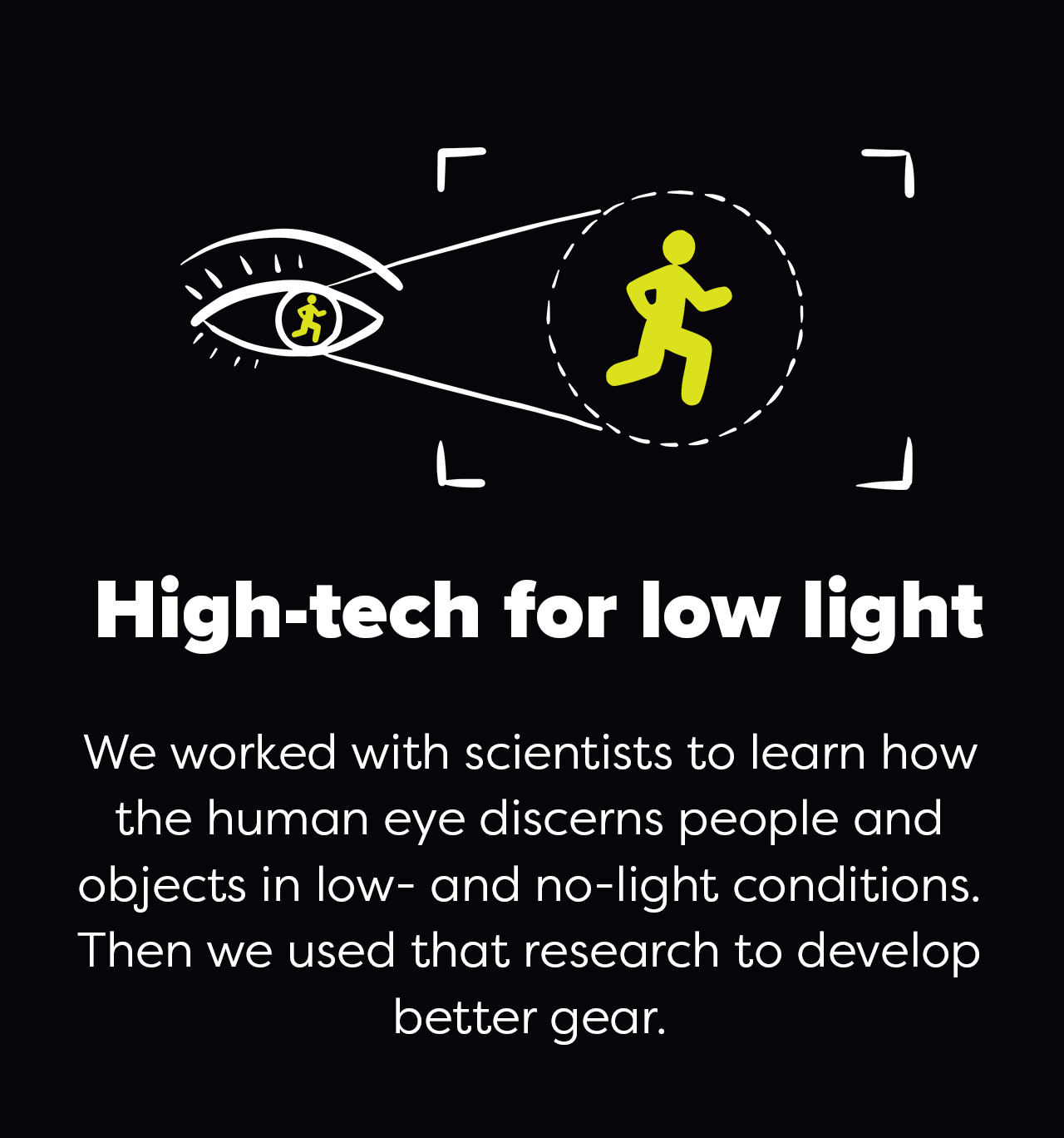 High-tech for low light   We worked with scientists to learn how the human eye discerns people and objects in low- and no-light conditions. Then we used that research to develop better gear.