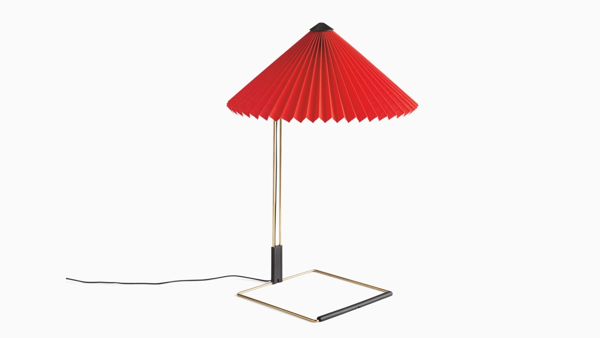 Lamp with red accordian shade