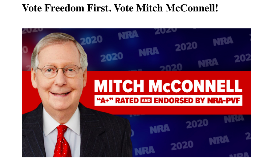 Mitch McConnell: A+ Rated and endorsed by the NRA.