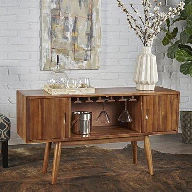Edye Mid Century Light Oak Finished Wood Wine Bar Cabinet