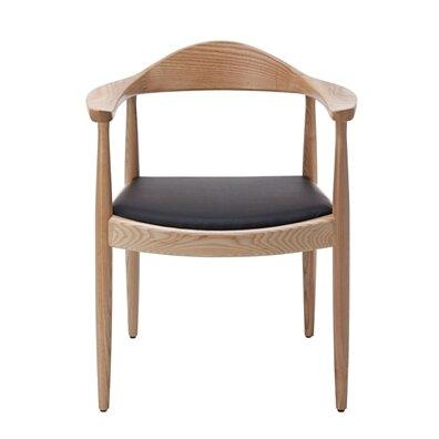 Calder Dining Armchair Mid-Century, Wood & Black PU Leather Seat