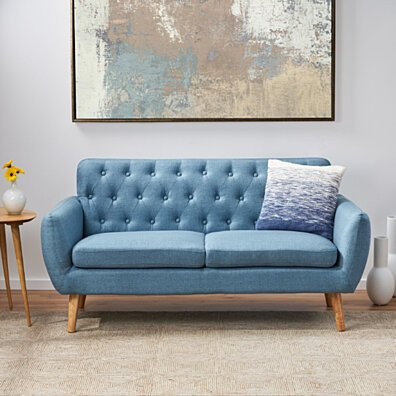 Eunice Petite Mid Century Modern Tufted Fabric Sofa