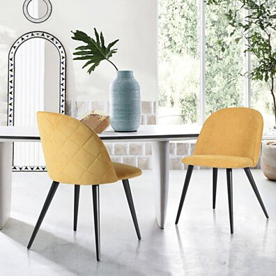 Modern Dining Chairs Side Chairs Soft Fabric Cover(Set of 2)