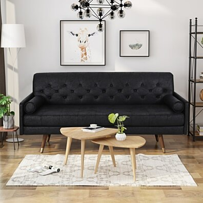 Truda Mid Century Modern Microfiber Sofa with Button Accents