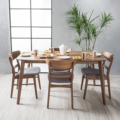 Helen Mid-Century Modern 5 Piece Dining Set with 60-Inch Rectangular Table