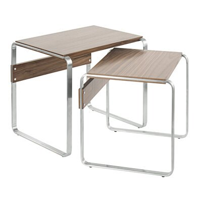 Tea Side Mid-Century Modern Nesting Tables in Stainless Steel and Walnut