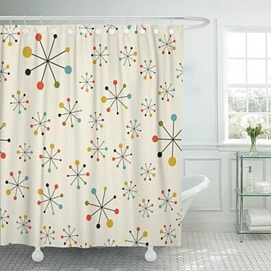 Modern Mid Century Absctract Geometric Pattern Space Retro 1950S Polyester Shower Curtain 60x72 inches