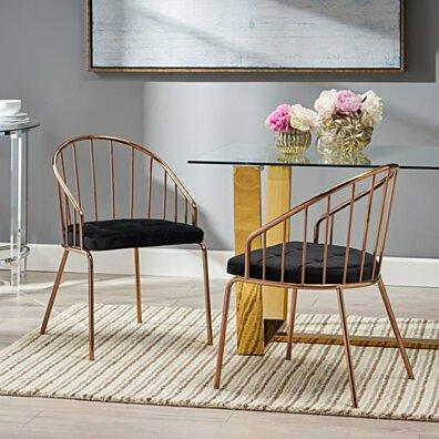 Marcia Modern Velvet Dining Chair with Stainless Steel Frame (Set or 2)
