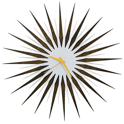 Atomic Era Clock - Walnut White/Orange - Midcentury Modern Starburst Clock - 23