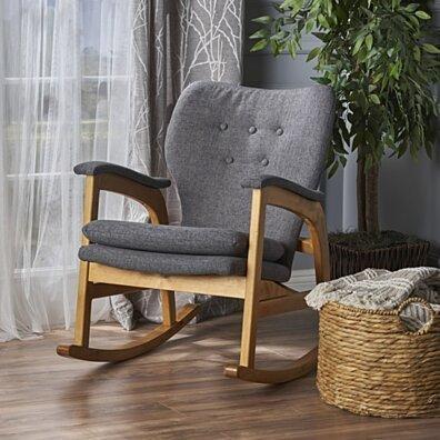 Bethany Mid Century Fabric Rocking Chair