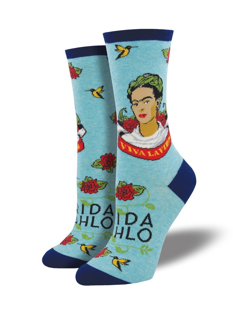 Women�s Viva La Frida Socks � Sky Blue