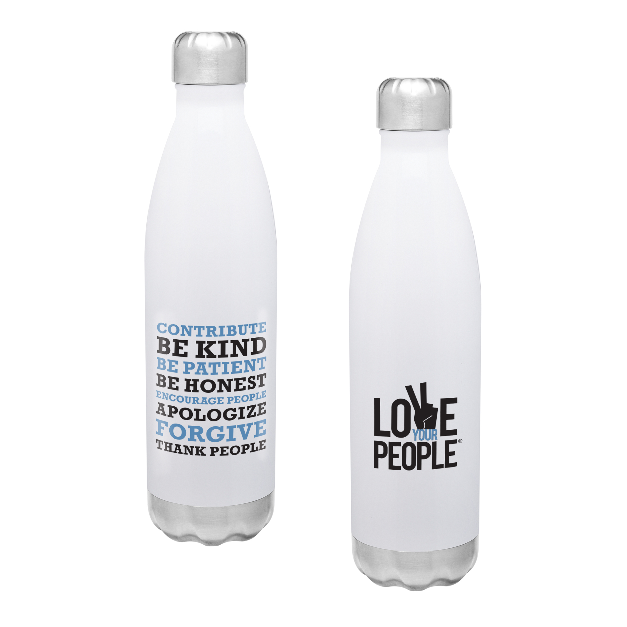 Love Your People Stainless Steel Bottle White