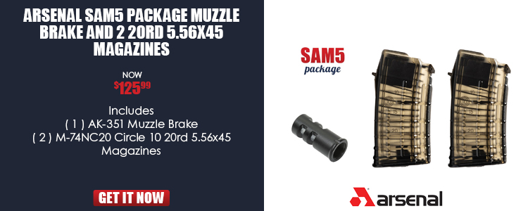 Arsenal SAM5 Package Muzzle Brake and 2 20rd 5.56x45 Magazines