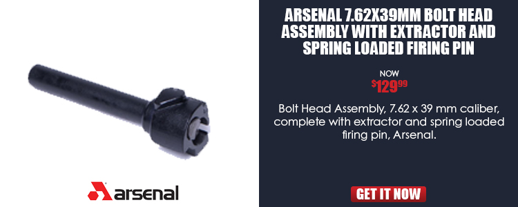 Arsenal 7.62x39mm Bolt Head Assembly with Extractor and Spring Loaded Firing Pin