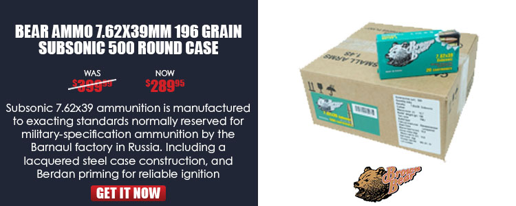 Ammo, Brown Bear, ASUB762FMJ, 7.62x39, 196 gr., FMJ, 20rd per box, 500rd case, subsonic