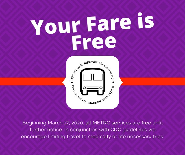 Graphic from METRO RTA announcing free fares for all METRO services beginning March 17_ 2020 until further notice