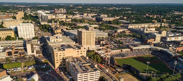 Aerial Photo of downtown Akron by Tim Fitzwater