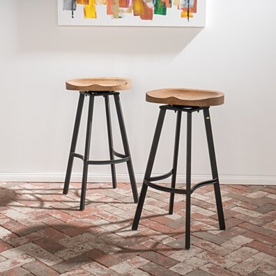 Shea 32-Inch Wood and Iron Rustic Swivel Barstool (Set of 2)