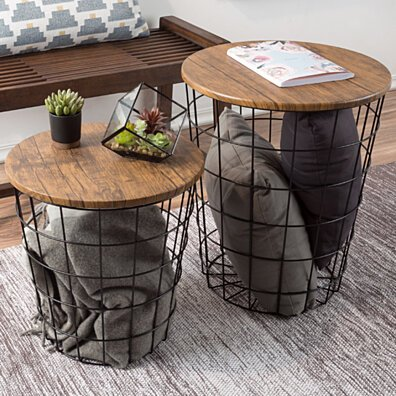 Set of 2, Lavish Home Wood & Wire Nested End Tables