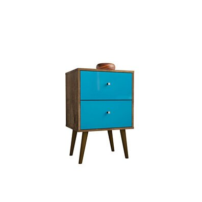 Mid Century - Modern Nightstand 2.0 W/ 2 Full Extension Drawers, Brown and Aqua Blue