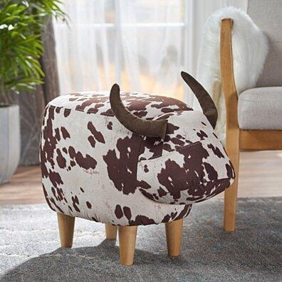 Bertha Milk Cow Patterned Velvet Ottoman