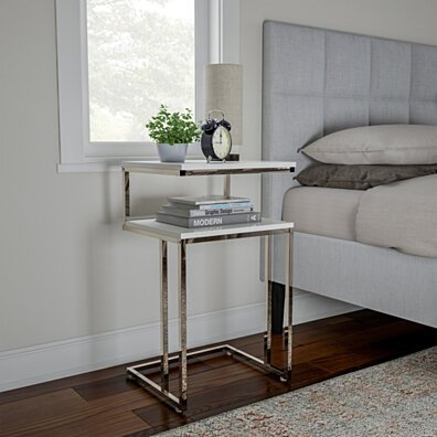 Two-Tier End Table- C Shaped Sofa Side Table with Two Shelves, Contemporary Style Chrome Metal Stand