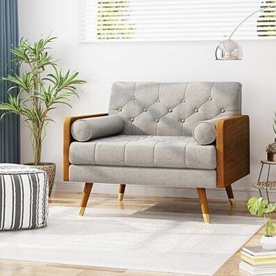 Greta Mid Century Modern Fabric Club Chair