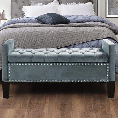 Scarlett Velvet Button Tufted Storage Bench - Silver Nailhead Trim | Upholstered | Modern & Functional by Inspired Home