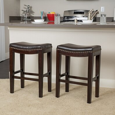 Brown 26-Inch Leather Backless Counter Stools w/ Nailhead Accent (Set of 2)
