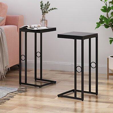 Agnes Modern C Side Table, Set of 2, Black