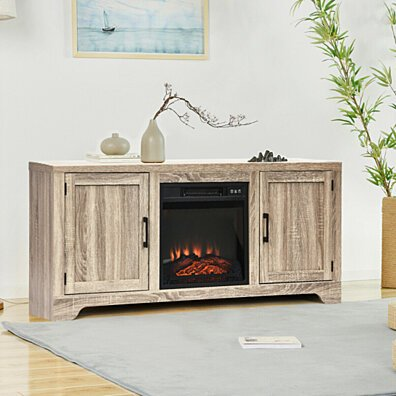 Gymax TV Stand Entertainment Center Console Home Media Storage W/ 2 Doors for 65