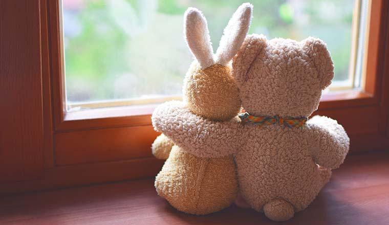 A photo of a hug between a teddy bear and a bunny