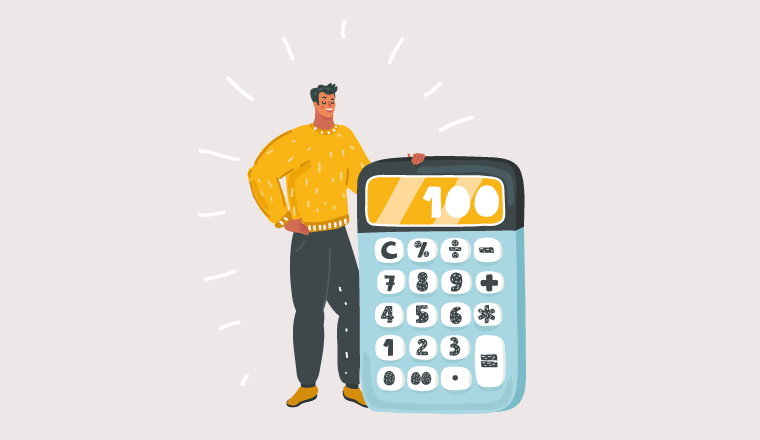 A picture of a person posing with a calculator