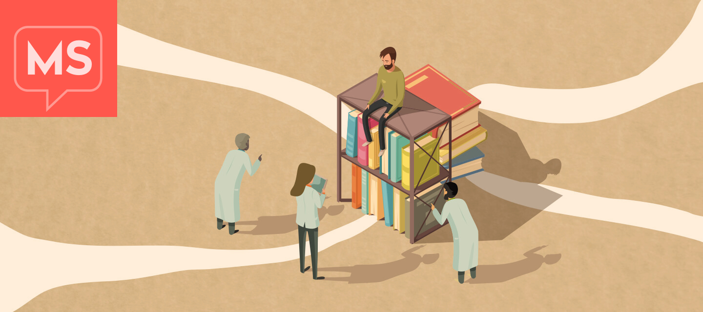 A patient sits on top of a pile of books while three different doctors are pointing and trying to explain something.