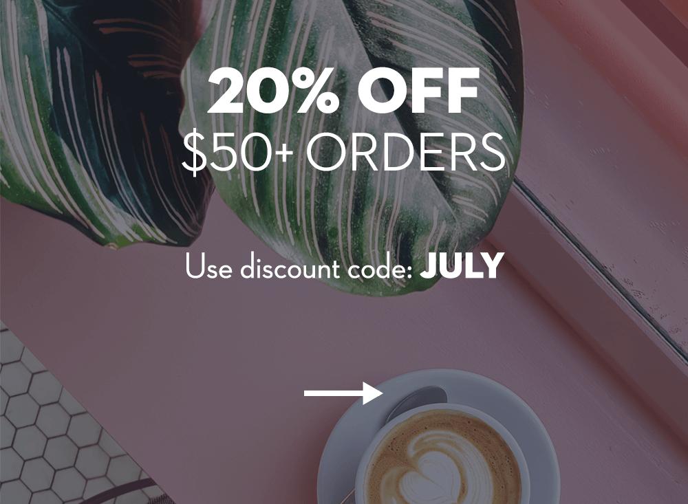 20% off $50+