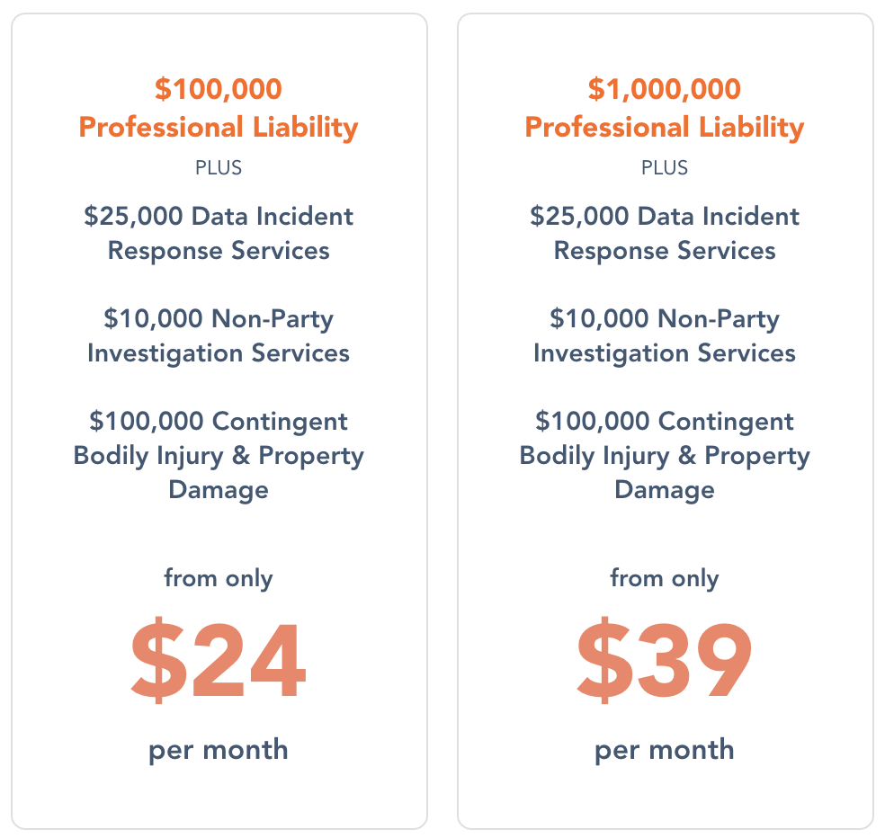 Image showing comparison table - Prices from only $24 a month for $100,000 PL and $39 a month for $1m PL