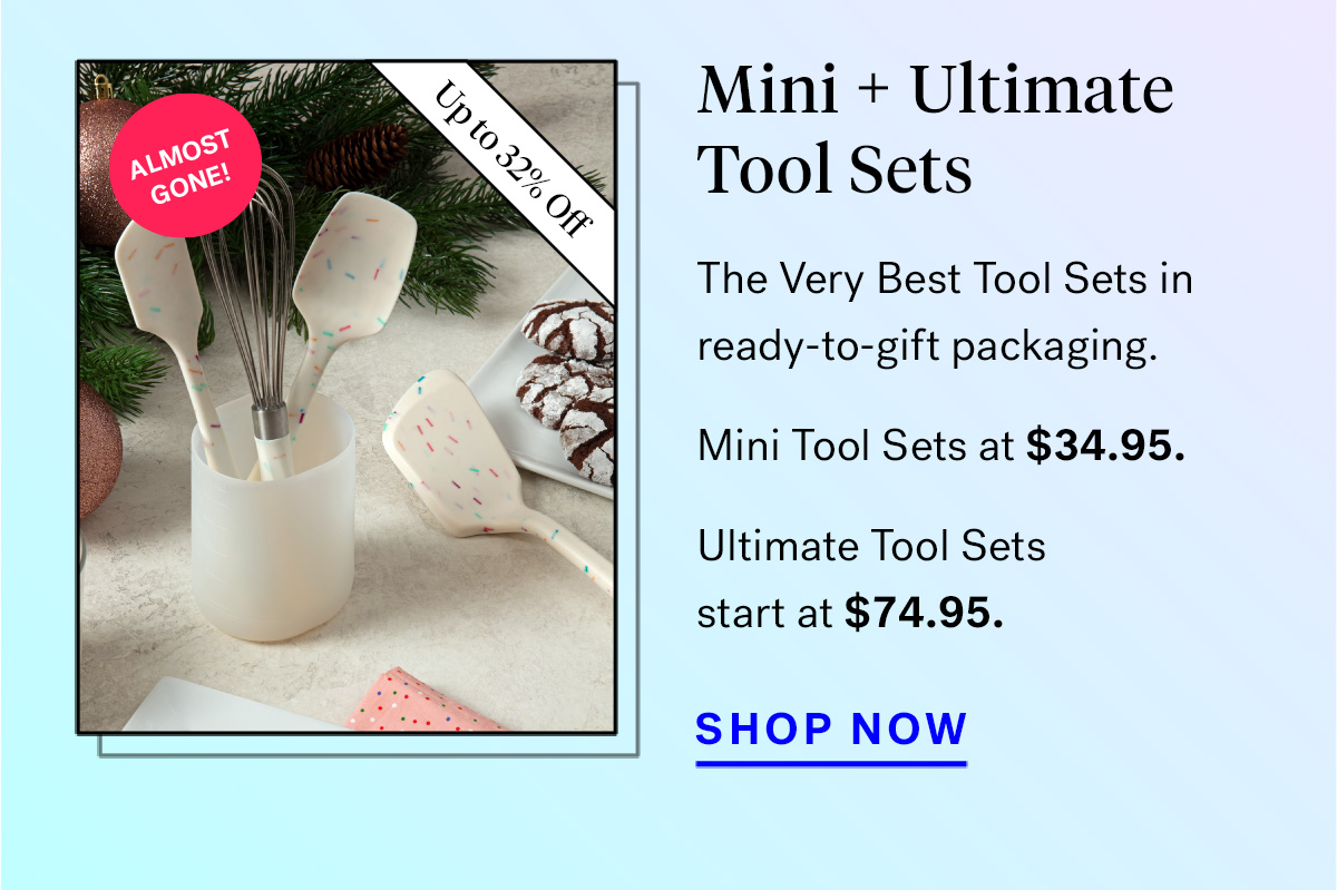 Mini + Ultimate Tool Sets (badge for up to 32% off and 'almost gone!')