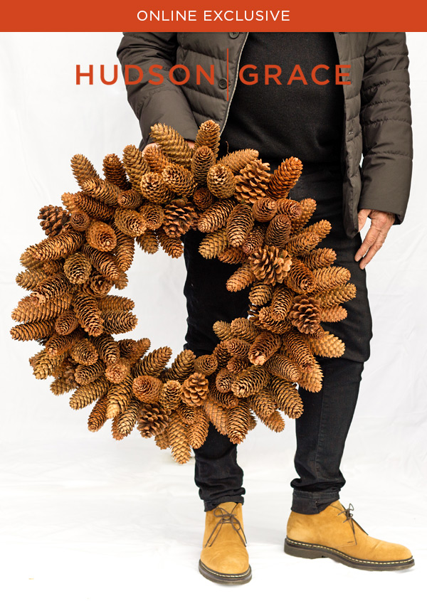 Natural Beauty - Our welcoming wreath of large, all natural pine cones speaks elegantly to the season. The cones are forest harvested and each wreath is handmade in the USA.?This oversized wreath makes a stunning welcome statement at your door or in your home and can be enjoyed from early fall through winter.? Best yet, store it away in it's sturdy reusable box and enjoy for many years to come.