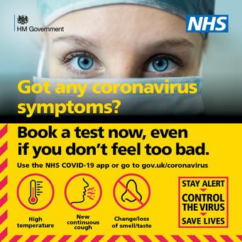 Got any coronavirus symptoms? Book a test now.