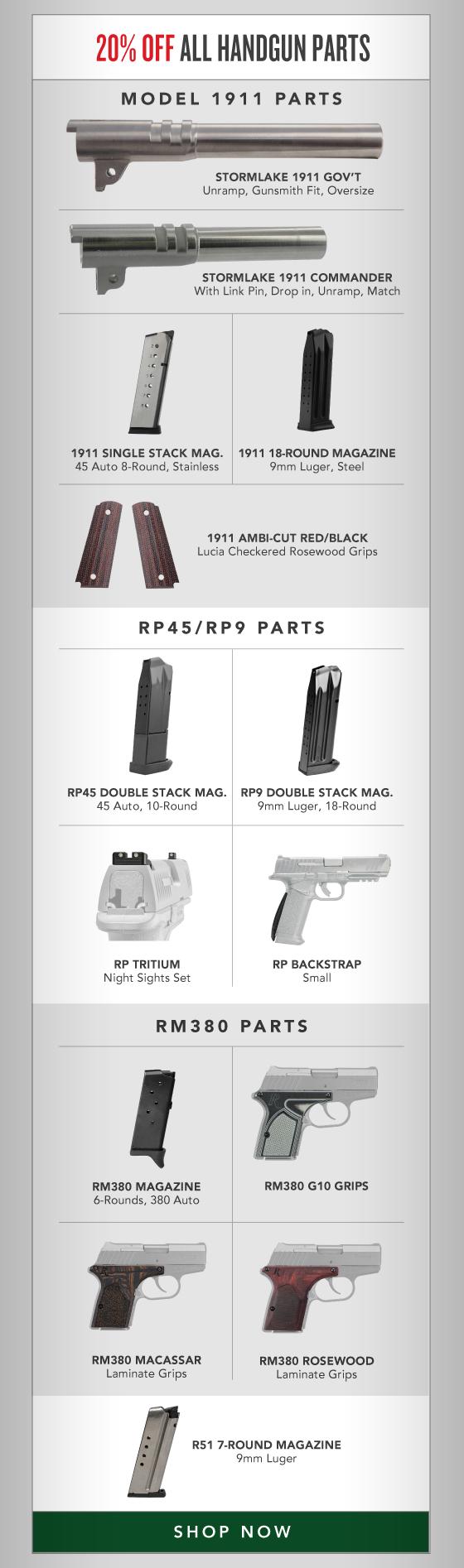 20% OFF All Handgun Parts