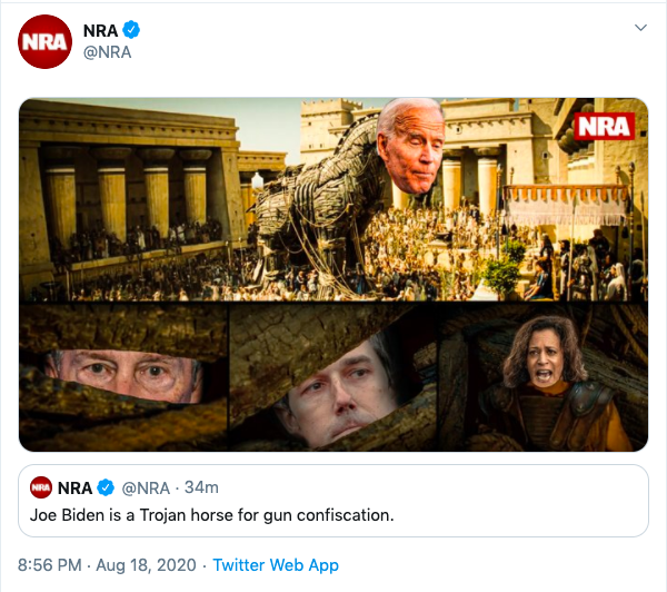 NRA tweet claiming Joe Biden is a Trojan horse for gun confiscation. A photoshop of Joe Biden's head on to a trojan horse.