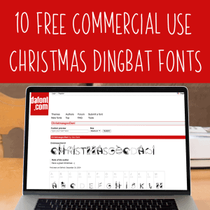 10 Free Commercial Use Christmas Dingbat Fonts for Silhouette and Cricut Craft Business Owners - Portrait, Cameo, Curio, Mint, Explore, Maker, Joy - by cuttingforbusiness.com.