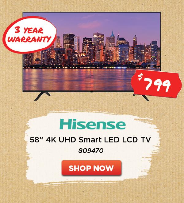 HISENSE 4K UHD SMART LED LCD TV 58