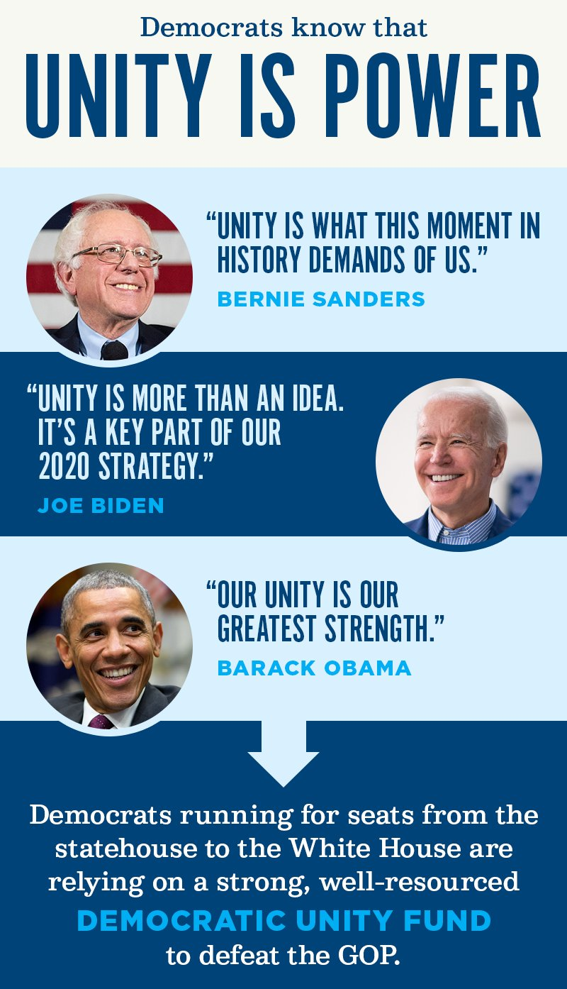 Democrats know that unity is power. Democrats running for seats from the statehouse to the White House are relying on a strong, well-resourced Democratic Unity Fund to defeat the GOP.