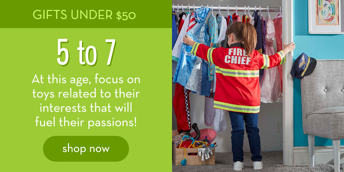 Gifts Under $50: 5 to 7 - At this age, focus on toys related to their interests that will fuel their passions! Shop now.